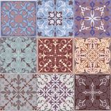 Set of Vintage Ornaments Seamless Patterns with Flower Designs in Damascus Style claret background. Vector illustration with an ornament Royalty Free Stock Images
