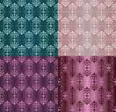 Set of Vintage Ornaments Seamless Patterns with Flower Designs in Damascus Style claret background vector illustration. With an ornament vector illustration