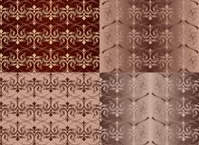 Set of Vintage Ornaments Seamless Patterns with Flower Designs in Damascus Style claret background vector illustration. With an ornament stock illustration
