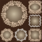 Set of vintage ornate frames with floral elements.  Royalty Free Stock Photos