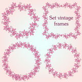 Set of vintage ornate frames with floral elements for invitation. Congratulation and greeting card Royalty Free Stock Photos