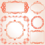 Set of vintage ornate frames with floral elements for invitation. Congratulation and greeting card Stock Photography
