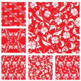 Set of Vintage ornate seamless patterns with white roses. Sihouettes on red background.  Ready to use as swatch Stock Image