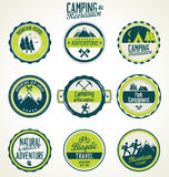Set of vintage outdoor camp badges Royalty Free Stock Photography