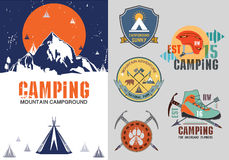 Set of vintage outdoor camp badges, logo and design elements. Vintage print, mountain travel Style. Typography vector Elements Royalty Free Stock Photography