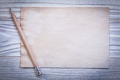 Set of vintage paper sheet for menu pencil on wooden board Stock Photography