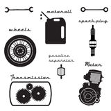 Set of vintage parts for the bike. Vector Illustration Stock Photos