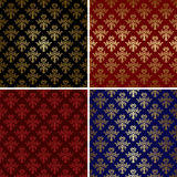 Set of vintage patterns with gold tracery - eps Stock Photography