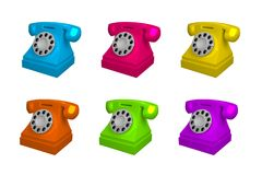 Set of vintage phone in different colors. Telephone isolated on white background, 3d vector illustration. Set of vintage phone in different colors. Telephone royalty free illustration