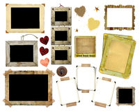 A set of vintage photo frames. On a white background. Template for the design in the style of the scrap-bookings Royalty Free Stock Photography
