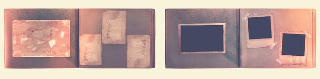 Vintage photoalbum for photos on white isolated background Stock Images