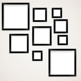 Set of vintage picture frames hanging Royalty Free Stock Photos