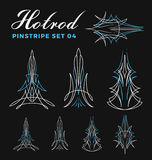 Set of vintage pin striping line art. vector illustration