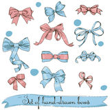 Set of vintage pink and blue bows Royalty Free Stock Photography