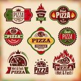 Set of vintage pizza labels Stock Image