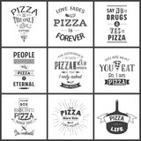 Set of vintage pizza typographic quotes Royalty Free Stock Photography