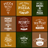 Set of vintage pizza typographic quotes Stock Photography