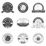 Set Vintage Plumbing, Heating Services logo, labels and badges. Stock Image