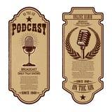 Set of vintage podcast, radio flyers with microphone. Design element for logo, label, sign, badge, poster. Vector illustration vector illustration