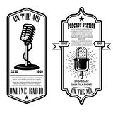 Set of vintage podcast, radio flyers with microphone. Design element for logo, label, sign, badge, poster. Vector illustration royalty free illustration