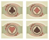 Set vintage poker cards, vector Stock Image