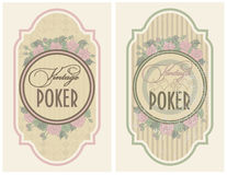 Set vintage poker label Royalty Free Stock Image