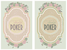 Set vintage poker label Stock Photos