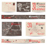 Set of vintage post stamps for Halloween party Stock Photos