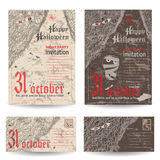 Set of vintage post stamps for Halloween party Stock Photo