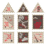 Set of vintage post stamps for Halloween party Royalty Free Stock Photography