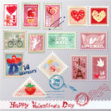 Set of vintage post stamps with hearts for Valenti Stock Photo