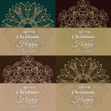 Set of 4 vintage postcards for Christmas in Art Nouveau style Royalty Free Stock Photography