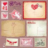 Set of vintage postcards and post stamps for Valen Stock Photo