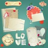 Set of vintage postcards, vintage papers and labels royalty free illustration