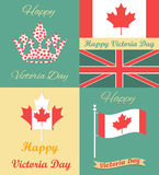 Set of vintage posters for Victoria Day Royalty Free Stock Images