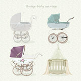 Set of vintage prams on floral background in light colors. Royalty Free Stock Photos
