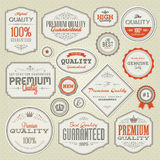 Set of vintage premium quality labels and badges. Set of  vintage premium quality labels and badges Royalty Free Stock Photo