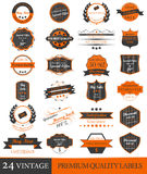 Set of vintage premium quality  labels and ornate elements Stock Photo