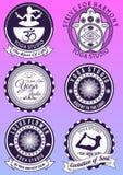 Set of vintage purple badges for yoga studio Stock Image
