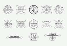Set of vintage rafting logo, labels and badges. Graphic Art. stock illustration