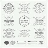 Set of vintage rafting logo, labels and badges. Graphic Art. royalty free illustration