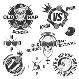 Set of vintage rap emblems, labels and design elements. Monochrome style. Stock Images