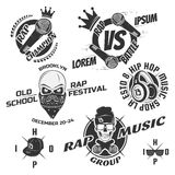 Set of vintage rap emblems, labels and design elements. Monochrome style. Royalty Free Stock Images