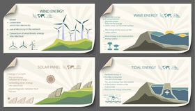 Set of vintage renewable energy infographics. Set of vintage cards renewable energy from paper templates infographics vector illustration