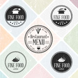 Set of vintage restaurant badges Stock Photos