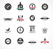 Set of vintage restaurant and food badges, labels Royalty Free Stock Photo