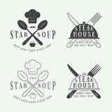 Set of vintage restaurant logo, badge and emblem with spoons, forks and knifes Stock Photo