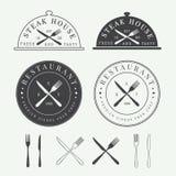Set of vintage restaurant logo, badge and emblem Stock Photography