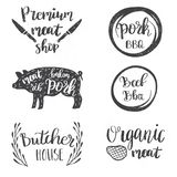 Set of vintage retro badge, label, logo design templates for meat store, charcuterie, deli shop, butchery market. Vintage style set of retro badges, labels, logo Stock Photo