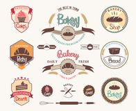 Set of vintage retro bakery badges and labels Royalty Free Stock Image